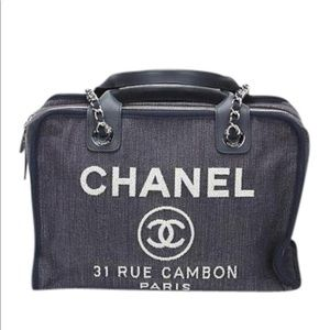 CHANEL Denim Blue Canvas Deauville 2 Way Bowling